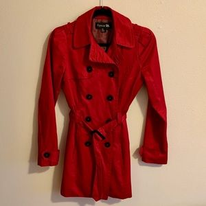 Women's Red Trench Coat